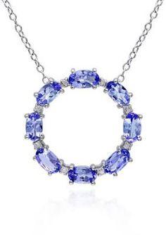 Belk  Co.  Sterling Silver Tanzanite and Diamond Circle Pendant