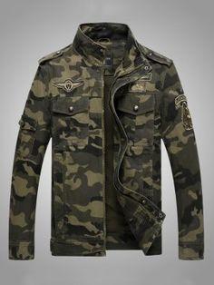 Camouflage Stand Collar Pockets Slim Zipper Men's Jacket