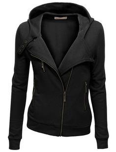 cool Women Fleece Zip-up Hoodie with Zipper Point - For Sale