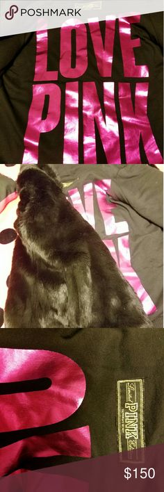 Limited pink edition fur jacket This is a reposh I never wore it. its in excellent condition!! I tried it on but it's snug on me. I would say these run on the smaller side can fit a small or even an extra small PINK Victoria's Secret Jackets & Coats