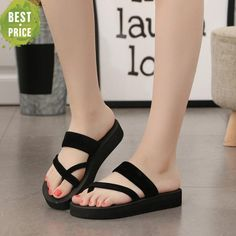 QICIUS New Solid Black Shoes Sandal Flip Flops Women Wedge Sandals Platform Beach Slippers Zapatillas Chinelo Sandalia Womens Summer Shoes, Womens High Heels, Open Toe Shoes, Wedge Shoes, High Shoes, Fashion Sandals, Sneakers Fashion, Sandals Outfit, Botas Sexy
