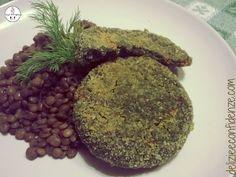 Medaglioni di erbe selvatiche con insalata di lenticchie all'olio di zucca crudo bio da Delizie & Confidenze su Akkiapparicette
