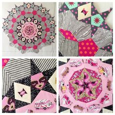 "Tula Pink's Millefiori Quilt project from the book ""Millefiori Quilts"" by Willyne Hammerstein."
