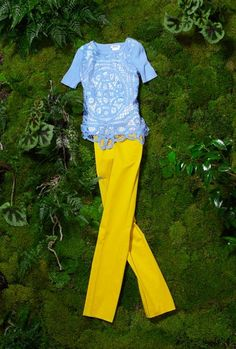 MOSCHINO CHEAP & CHIC straight ankle pant in yellow, $340. Crochet front sweater in blue, $640.