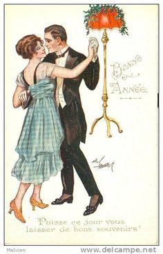 ILLUSTRATEURS-ref 372-illustrateur  -bonne Annee -danse - Theme Couple Couples  - Carte Bon Etat - - Illustrateurs & Photographes
