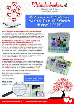 Scholenaanbieding. Afscheidsboek vanaf €14,95.