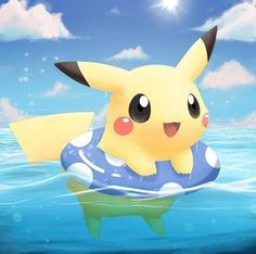 Pikachu is swimming, so cute!                                                                                                                                                                                 More