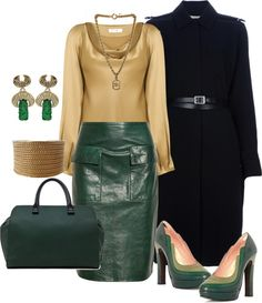 """""""Green Leather Skirt"""" by ldumperth on Polyvore"""