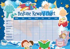 Print - Children's Bedtime Reward Chart includes Smiley Face Stickers (Kids) Bedtime Chart, Bedtime Routine Chart, Bedtime Routines, Daily Routines, Toddler Reward Chart, Toddler Chart, Printable Reward Charts, Chore Charts, Rewards Chart