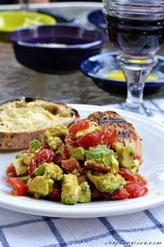 grilled rosemary chicken with avocado, tomato and feta salsa - my favorite summer dinner! Omit feta to make paleo I Love Food, Good Food, Yummy Food, Fun Food, Grilled Rosemary Chicken, Healthy Recipes, Healthy Meals, Yummy Recipes, Gourmet