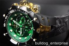 Mens Invicta Reserve Venom II Green Black Gold Chronograph Swiss Watch New