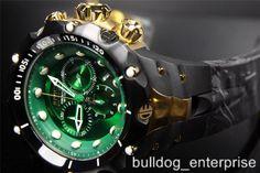 Mens Invicta Reserve Venom II Green Black Gold Chronograph Swiss Watch New