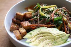 maple tofu and soba noodle salad