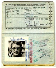 Steve McQueen passport from 1970 Steeve Mac Queen, Steve Mcqueen Style, Steven Mcqueen, Indiana, Joe Cool, Mug Shots, The Wiz, Stevia, Bruce Lee