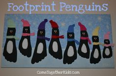 Creative Handprint and Footprint Crafts for Christmas --> Footprint Penguin Wall Hanging Footprint Crafts, Preschool Crafts, Fun Crafts, Crafts For Kids, Snow Crafts, Family Crafts, Craft Activities, Winter Fun, Winter