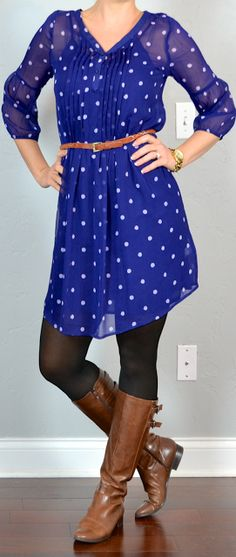 Cute casual look: blue polka-dot dress, black tights, brown riding boots
