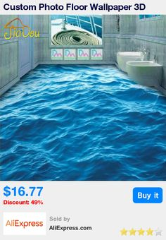 Custom Photo Floor Wallpaper 3D Stereoscopic Floor Waves Mural PVC Wallpaper Living Room Bathroom Self-adhesive Floor Wallpaer * Pub Date: 14:00 Jun 23 2017