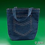 denim-look pocket tote bags
