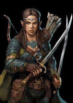 f Half Elf Ranger Med Armor Cloak Dual Swords Longbow Underdark Traveler lg Dark Fantasy, Fantasy Rpg, Medieval Fantasy, Dungeons And Dragons Characters, Fantasy Characters, Female Characters, Fantasy Figures, Fantasy Portraits, Character Portraits