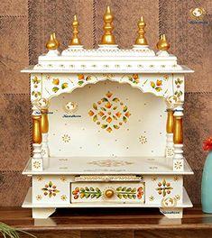 Temple Design For Home, Home Temple, Ganpati Decoration Design, Mandir Design, Pooja Mandir, Puja Room, Cup Art, House In The Woods, Interior Design Kitchen