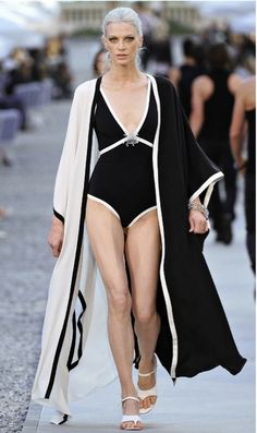 Chanel black and white swimsuit with hooded jacket