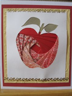 Apple Iris Fold...like the red papers...