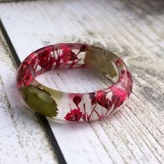Another bright and beautiful real flower ring now added to my Etsy shop