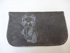 Blague à Tabac en cuir gris et panda origami