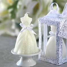 Candle with lavender bow - My wedding ideas