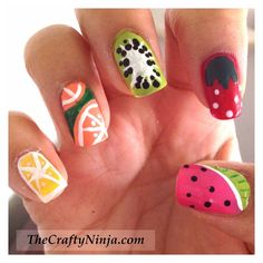 The Sparkle Queen: Top 50 Summer Nail Art Ideas! craftyninja's fruit nail tutorials for summer