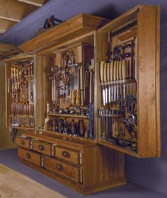 Inspired by Chris Becksvoort's cabinet and the H. Studley cabinet, Campbell set out to display his tools well and make them easily accessible. The cabinet sits on Campbell's benchtop and […] Japanese Woodworking Tools, Woodworking Tool Cabinet, Woodworking Tools For Beginners, Antique Woodworking Tools, Antique Tools, Woodworking Workshop, Woodworking Bench, Fine Woodworking, Woodworking Projects