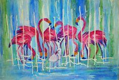 Aquarell Tiergarten Schönbrunn, Flamingo, Painting, Watercolor, Painting Art, Flamingos, Paintings, Paint, Draw