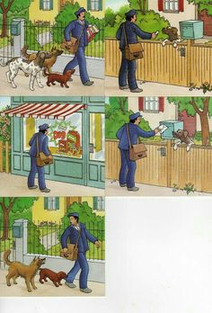Mailman and dogs. Speech Language Therapy, Speech And Language, Speech Therapy, Picture Story Writing, Picture Writing Prompts, Story Sequencing Pictures, Exam Pictures, Picture Comprehension, Sequencing Cards