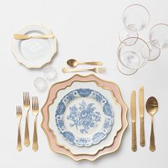 Anna Weatherley Chargers in Desert Rose + AW Dinnerware + Blue Garden Collection Vintage China + Chateau Flatware + Gold Rimmed Stemware + Antique Crystal Salt Cellars | Casa de Perrin Design Presentation