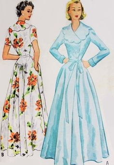 1950s Glamorous Robe Hostess Gown Pattern McCalls 9173 Lovely Negligee Housecoat Bust 32 Vintage Sewing Pattern FACTORY FOLDED