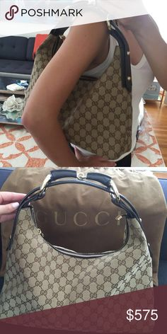 Gucci medium horsebit canvas hobo Excellent condition and comes with original dust bag!!!  Used less than 10x.  Dimensions: 14 x 14 inches.  Gorgeous medium sized Gucci hobo bag. No frays or scratches on the hardware. The tote features a looping shoulder strap in brown leather and polished brass including a bold horsebit detail. The top of the bag is open to a fabric interior with zipper and patch pockets. A classic hobo with sophisticated style by Gucci! Original dust bag included. Gucci…