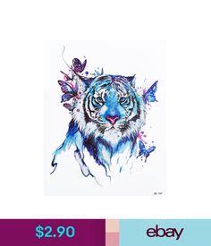 Temporary Tattoos Blue Temporary Tattoo Stickers Body Art Waterproof Big Tiger Watercolor #ebay #Fashion