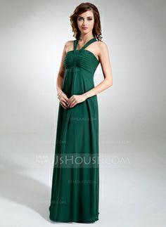 Empire V-neck Floor-Length Chiffon Bridesmaid Dress With Ruffle (007001897) - JJsHouse