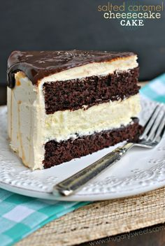 Salted Caramel Chocolate Cheesecake Cake - delicious chocolate layered cake with cheesecake center. Topped with caramel frosting and chocolate ganache! @shugarysweets