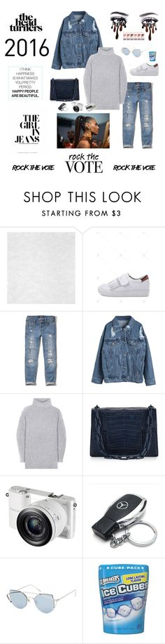 """R⭕️CK THE V⭕️TE MY L⭕️VE®"" by simplicitybomb ❤ liked on Polyvore featuring Hollister Co., WithChic, Acne Studios, Nancy Gonzalez, Samsung, Mercedes-Benz, Gentle Monster and Royce Leather"