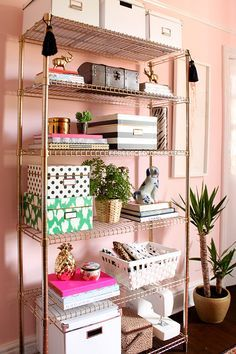 Ikea Hack Omar Shelves painted gold via Swoon Worthy