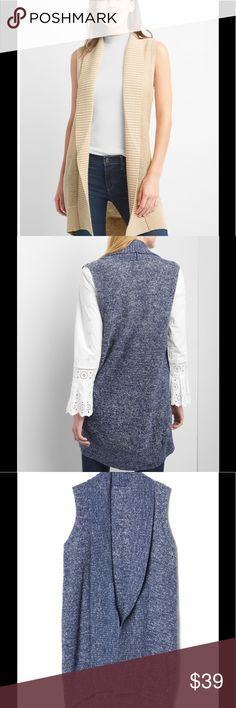 """🆕 Gap Textured Shawl Vest ! 💗 Gap ! NWT ! Textured Shawl Vest ! Soft textured knit ! Shawl collar ! Open front ! Sleeveless ! Straight silhouette with an easy relaxed fit ! Color """" Anchorage Cream """" ! Would go with anything ! Sizes L - XL - XXL ❤️ GAP Sweaters"""