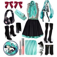 """casual cosplay - hastune miku"" by casual-cosplay on Polyvore I love this on too! Too Kawaii <3"