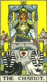 The Chariot represents sheer determination. This card represents maintaining the balance of control between the light and the dark in our natures. Doggedness and triumph after a long struggle are also indicated. Cancer's card.