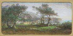 Marius Justinien ENGALIERE, (Marseille, 1824 - Paris, 1857), Environs de Monaco, 1851-1875, gouache sur papier. Inv. RO 521. Non exposée. Photo Mairie de Toulouse.