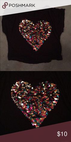 Sparkle heart shirt This is a sparkle heart shirt from Tj Max. Very pretty and has all sequins. :D size large Tops Blouses