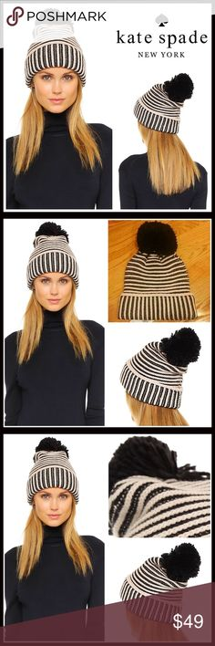 KATE SPADE Black & Ivory Pom Pom Beanie 💟NEW WITH TAGS💟  RETAIL PRICE: $58  KATE SPADE Black & Ivory Pom Pom Beanie  * Super soft knit construction   * Rib trimmed fold over cuff   * Stretch-to-fit style, one size fits most   * Cozy & comfortable   * Large black Pom Pom back detail     * Well made  Fabric- 70% acrylic, 30% wool  Color- Striped black & cream  Item#:   🚫No Trades🚫 ✅ Offers Considered*✅  *Please use the blue 'offer' button to submit an offer kate spade Accessories Hats