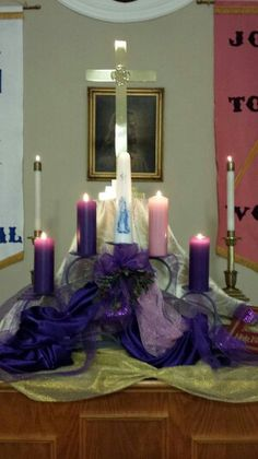 Altar decorated for Advent, Culbertson Chapel UMC