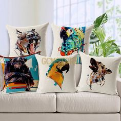 new season Oil Painting Bird Parrot Dog Cat Cushion Cover #pillow #cushion #animals