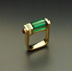 18K Rings - Green Tourmaline Ring